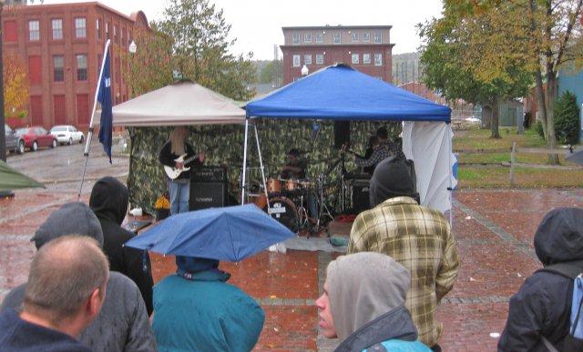 A concert in the rain