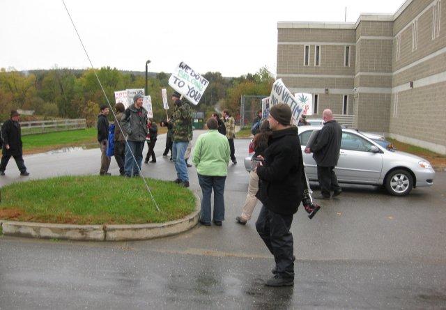 Protestors outside the jail