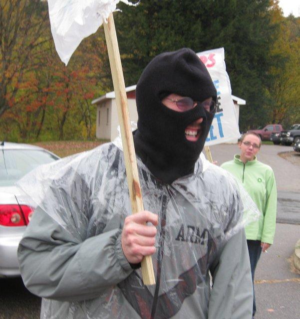 Unknown, cowardly protestor